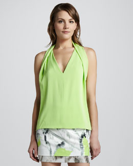 Diane von Furstenberg Reagan Draped Sleeveless Top, Melon