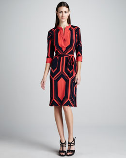 Melissa Masse Hexagon-Print Jersey Dress
