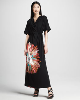 Melissa Masse Long Belted Floral Maxi Dress, Women's