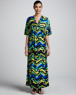 Melissa Masse Zigzag-Print Maxi Dress