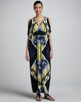 Melissa Masse Open-Shoulder Print Maxi Caftan Dress