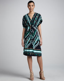 Melissa Masse V-Neck Knee-Length Print Dress