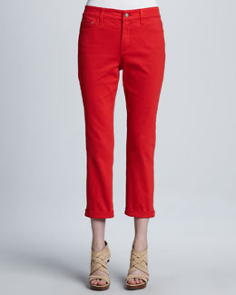 NYDJ Bright Colored Kendall Cuffed Ankle Pants, Petite