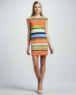 kate spade new york nico striped cap-sleeve dress