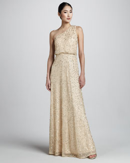 Aidan Mattox Beaded One-Shoulder Dress