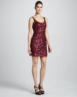 Aidan Mattox Sequined Tank Dress