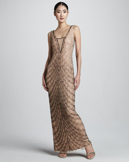 Aidan Mattox Scallop-Bead Dress