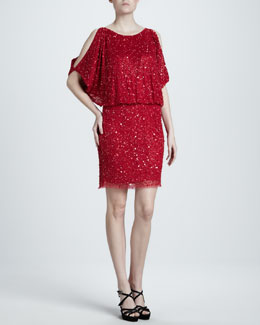Aidan Mattox Sequined Cold-Shoulder Dress