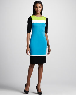 Misook Collection Jayce Colorblock Half-Sleeve Dress