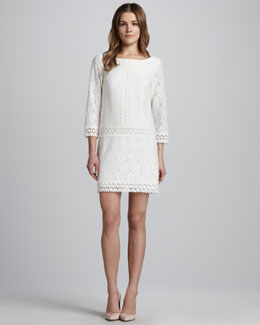 Laundry by Shelli Segal Jewel-Neck Lace Dress, Warm White