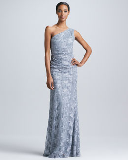 David Meister One-Shoulder Lace Sequined Gown