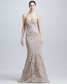 David Meister Strapless Soutache Gown