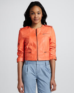 Alice + Olivia Cropped Zipper Jacket