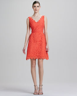 ML Monique Lhuillier Taffeta Lace Cocktail Dress