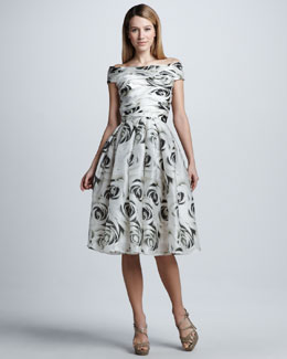 Naeem Khan Full-Skirt Rose-Print Cocktail Dress