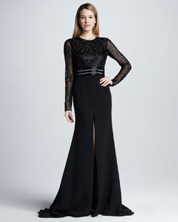 Naeem Khan Long-Sleeve Beaded Slit Gown