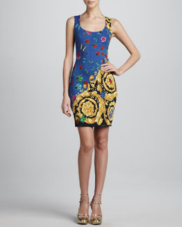 Versace Floral-Print Sleeveless Dress