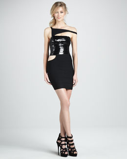 Herve Leger Cutout Combo Bandage Dress