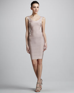 Herve Leger Wide-Scoop Neck Bandage Dress