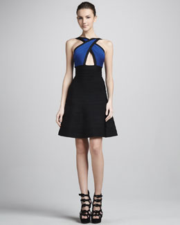 Herve Leger Crisscross Cutout A-Line Bandage Dress