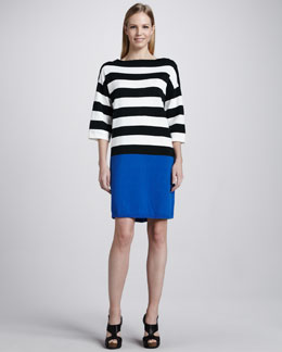 Joan Vass Colorblock Striped Dress, Petite