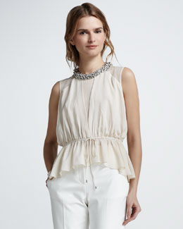 Robert Rodriguez Nailhead-Neck Silk Top