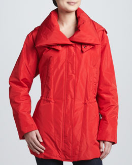 Donna Karan Hooded Drawstring Parka