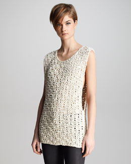 J Brand Ready to Wear Drew Macrame Sleeveless Sweater