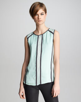 J Brand Ready to Wear Isabella Contrast Silk Top