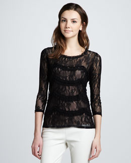 Graham & Spencer Paisley-Lace Striped Top