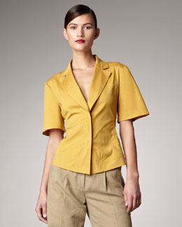 Donna Karan Notched Lapel Blouse