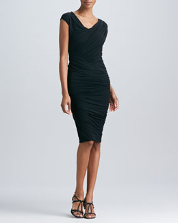 Donna Karan Draped Twist Dress, Black