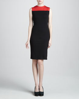 Adrienne Vittadini Colorblock Ponte Dress, Sable/Poppy