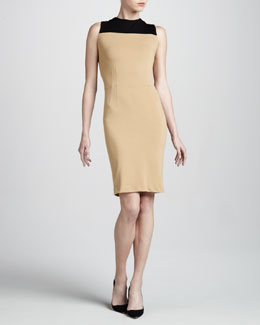 Adrienne Vittadini Colorblock Ponte Dress, Camel/Sable