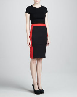 Adrienne Vittadini Colorblock Ponte Skirt, Sable/Poppy