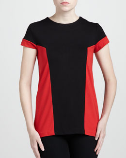Adrienne Vittadini Colorblock Ponte Top, Sable/Poppy