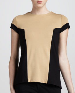 Adrienne Vittadini Colorblock Ponte Top, Camel/Sable