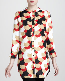Adrienne Vittadini Brush-Dot Big Shirt