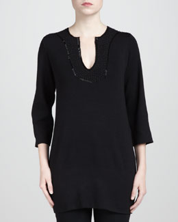 Adrienne Vittadini Beaded Tunic