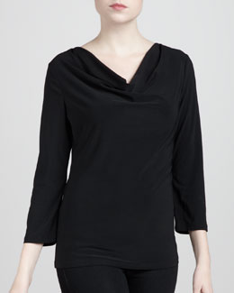 Adrienne Vittadini Three-Quarter Cowl Top, Black