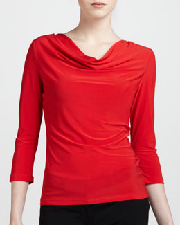 Adrienne Vittadini Three-Quarter Cowl Top, Poppy