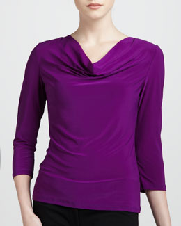 Adrienne Vittadini Three-Quarter Cowl Top, Iris
