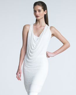 Donna Karan Draped Open-Weave Top