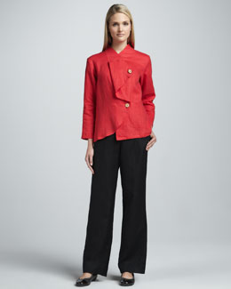 Neiman Marcus Asymmetric Linen Jacket & Pants Set