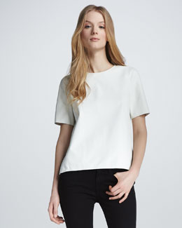 Vince Short-Sleeve Leather Tee