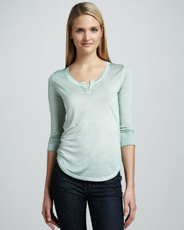 NM Luxury Essentials Slub Split-Neck Henley