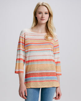 NM Luxury Essentials Striped Linen-Slub Top