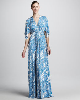 Rachel Pally Mykonos Current Print Maxi Caftan Dress