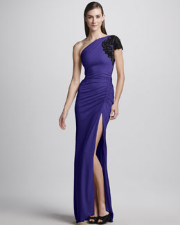 Badgley Mischka One-Shoulder High-Slit Ruched Gown