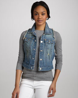 True Religion Leah Point Dune Frayed Denim Vest